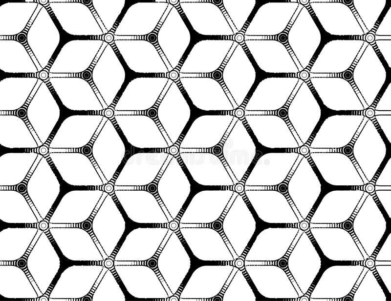 De ruwe tekening stileerde futuristisch hexagonaal net stock illustratie