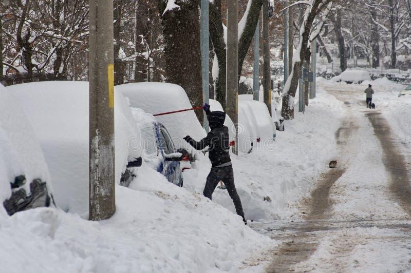De ruwe winter in Boekarest, hoofdstad van Roemenië royalty-vrije stock fotografie