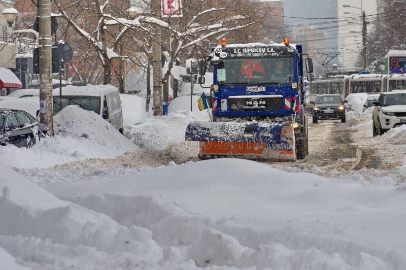 De ruwe winter in Boekarest, hoofdstad van Roemenië royalty-vrije stock foto