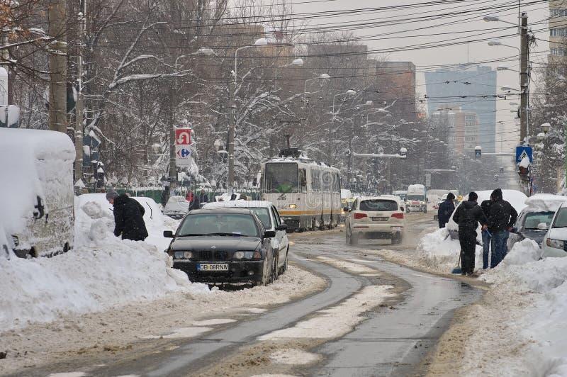De ruwe winter in Boekarest, hoofdstad van Roemenië royalty-vrije stock afbeelding