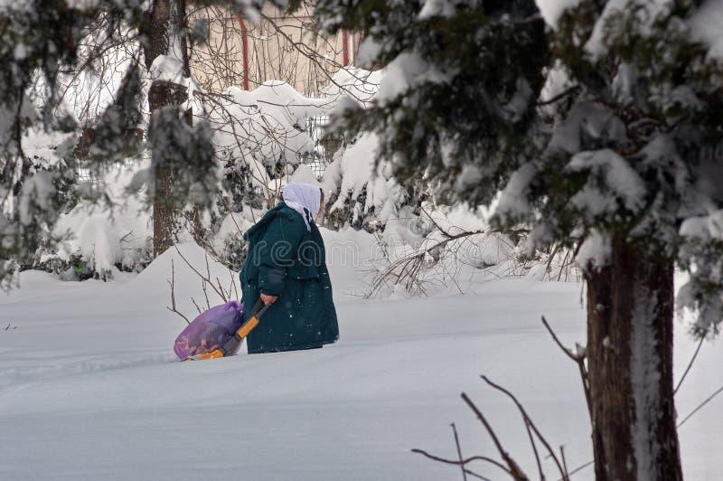 De ruwe winter in Boekarest, hoofdstad van Roemenië stock foto's