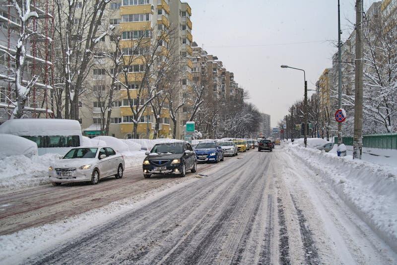 De ruwe winter in Boekarest, hoofdstad van Roemenië royalty-vrije stock afbeeldingen