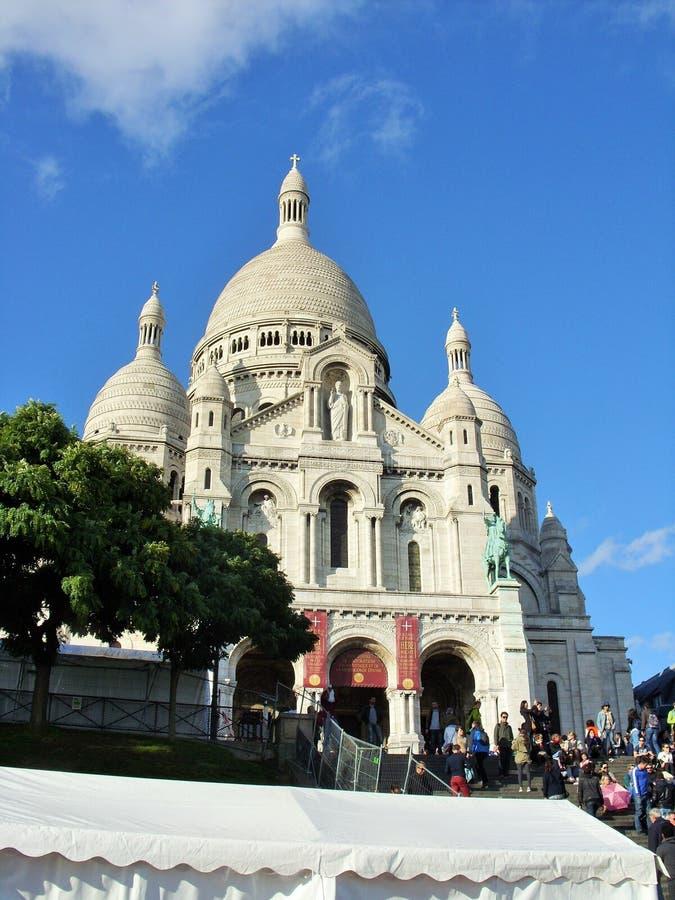 De Sacre-coeurkathedraal in Parijs stock foto's