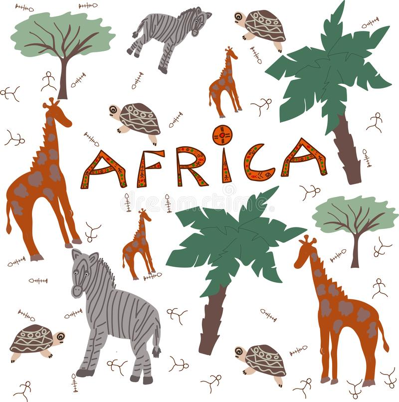 De safaridieren van Afrika royalty-vrije illustratie