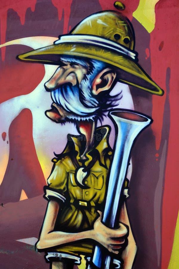 De safarijager van Montreal van de straatkunst stock afbeelding