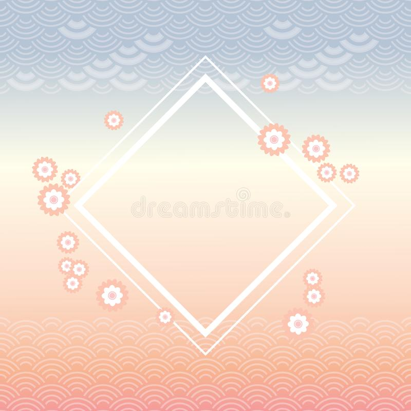 de sakurabloemen, regelen wit kader, abstracte tendensdageraad, blauw grijs roze de bannerontwerp van de kleurenkaart voor de een vector illustratie