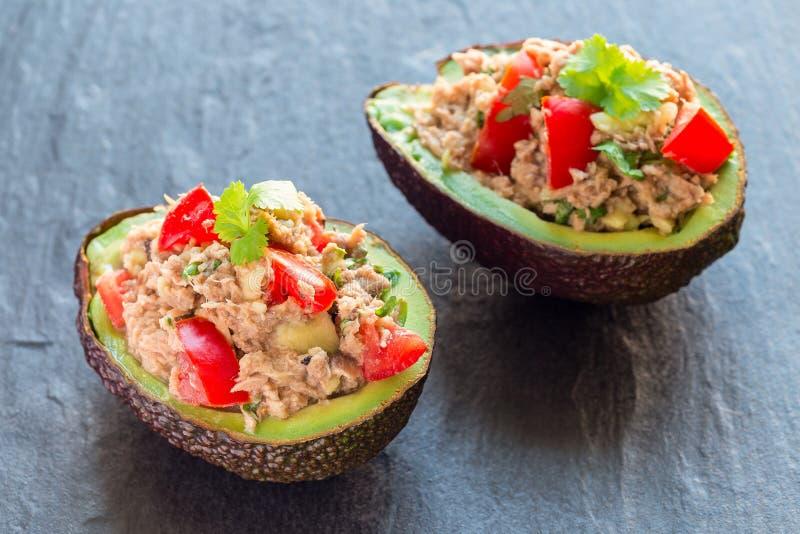 De salade met tonijn, avocado, tomaten, koriander en citroensap diende in avocadokommen, ingrediënten op een horizontale achtergr stock afbeelding