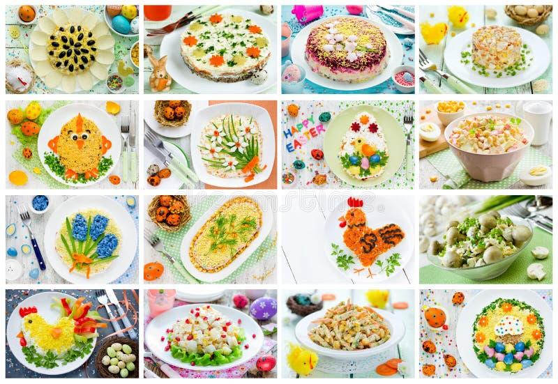 De salade, de snack en het voorgerecht van Pasen van de voedselcollage stock afbeeldingen