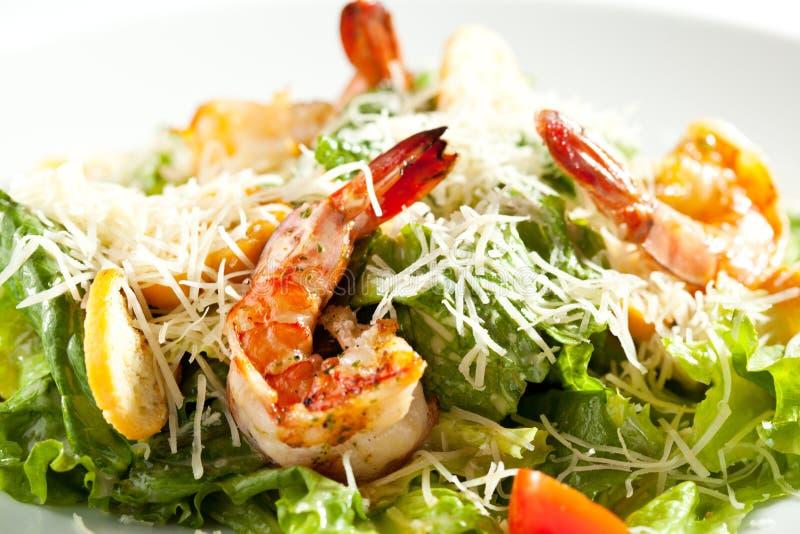 De salade van Caesar met garnalen stock fotografie