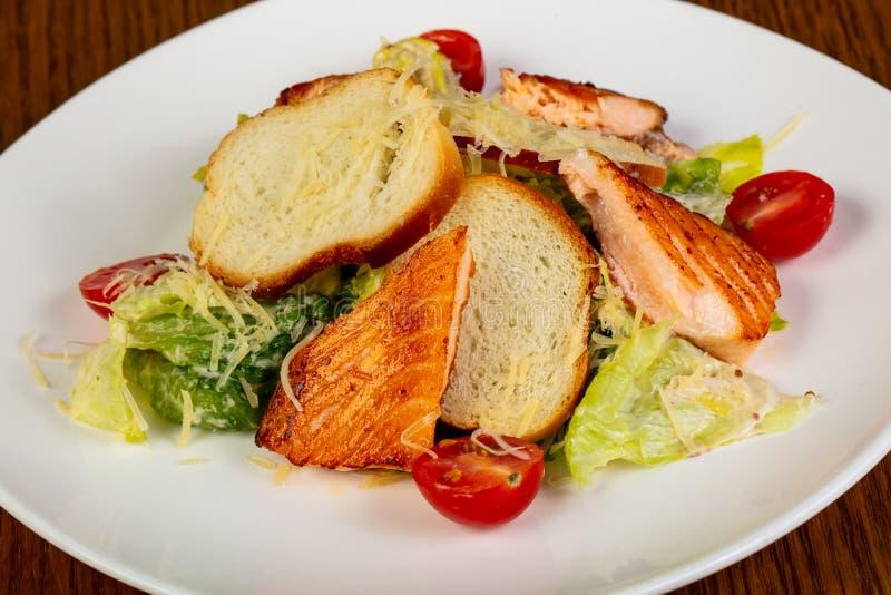 De Salade van Caesar met Zalm royalty-vrije stock foto's