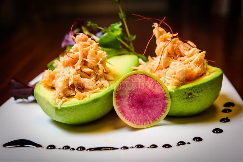 De salade van de avocadokrab stock foto's