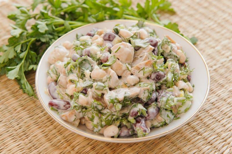 De Salade van de boon met Paddestoelen royalty-vrije stock afbeelding