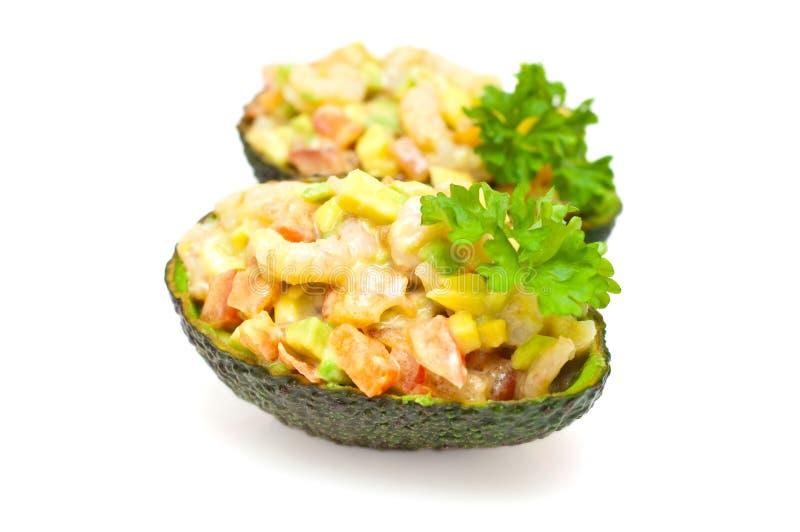 De salade van de garnaal en van de avocado stock foto