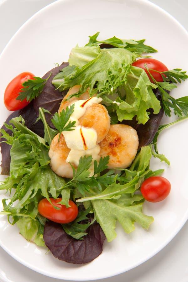 De Salade van de kammossel met de Vulling van de Saffraan stock afbeeldingen