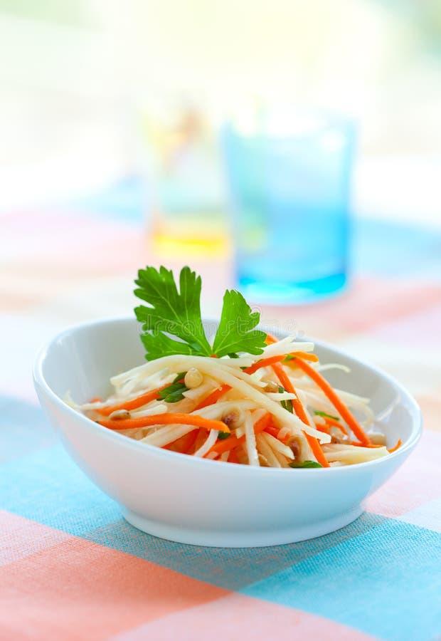 De salade van de koolraap en van de wortel royalty-vrije stock afbeeldingen