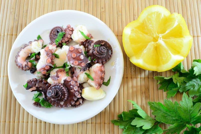 De salade van de octopus stock foto's