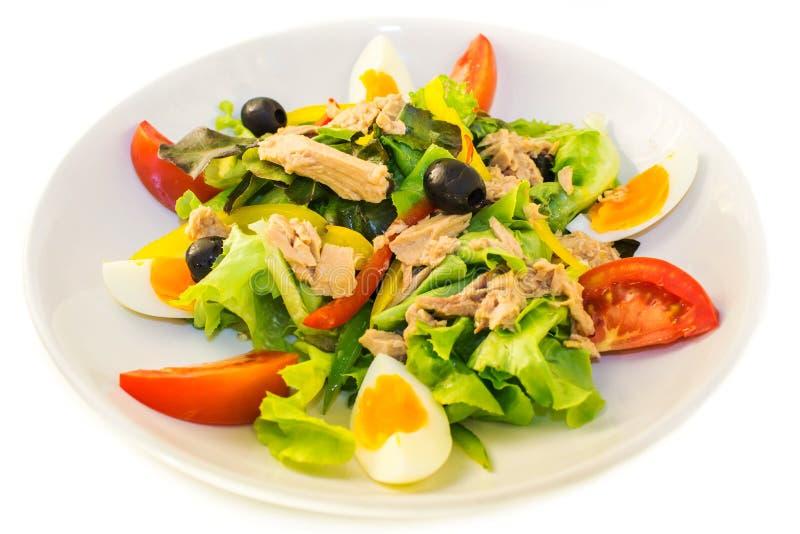 De salade van de tonijn op de plaat royalty-vrije stock afbeeldingen