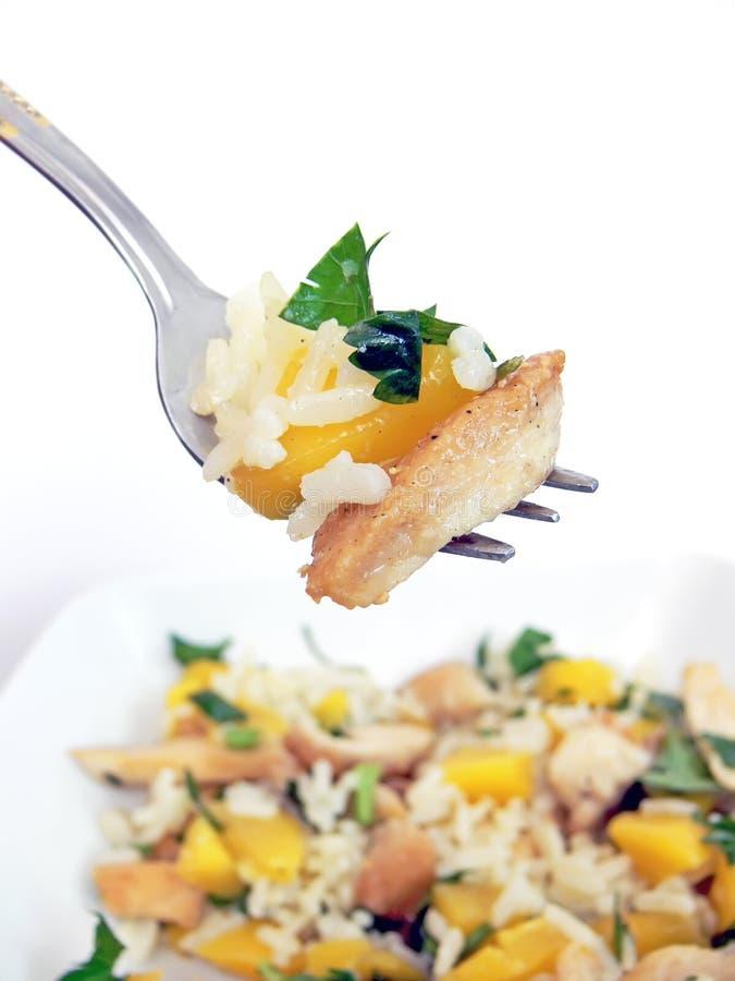 De salade van de vork en van de kip royalty-vrije stock afbeelding