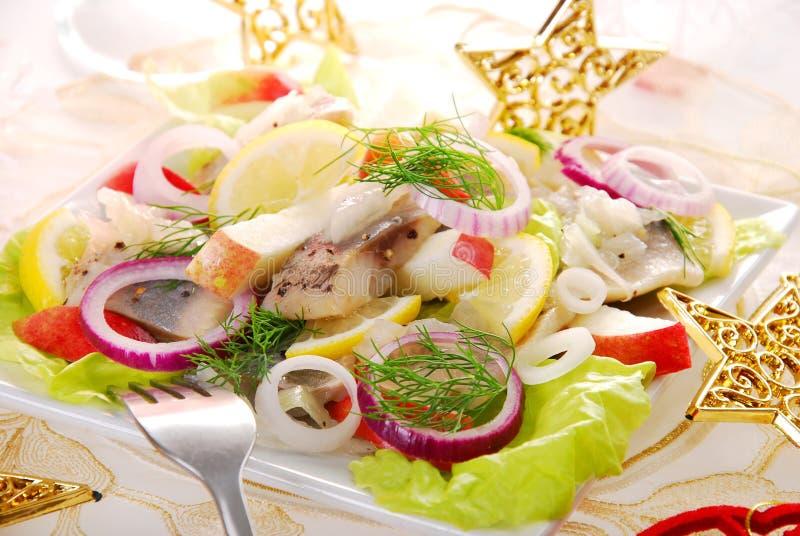 De salade van haringen met appel royalty-vrije stock afbeeldingen