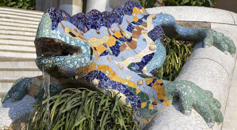 De salamander van Antoni Gaudy, Barcelona, Spanje royalty-vrije stock afbeelding
