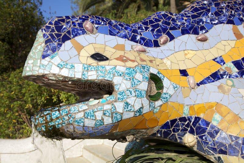 De salamander van Antoni Gaudy, Barcelona, Spanje stock foto