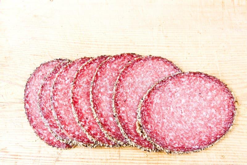 De salami van Peppered royalty-vrije stock afbeelding