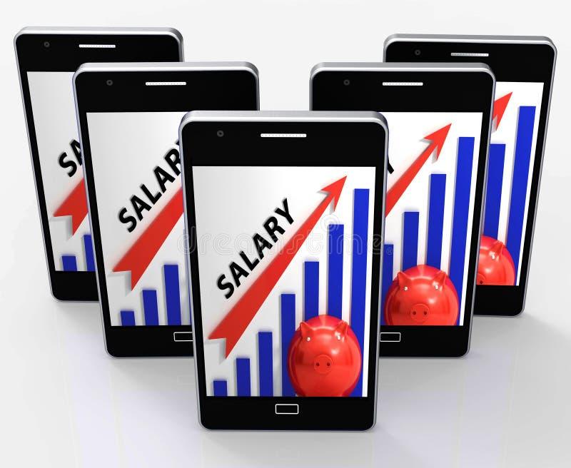 De salarisgrafiek toont Verhoging van het Werkinkomens stock illustratie