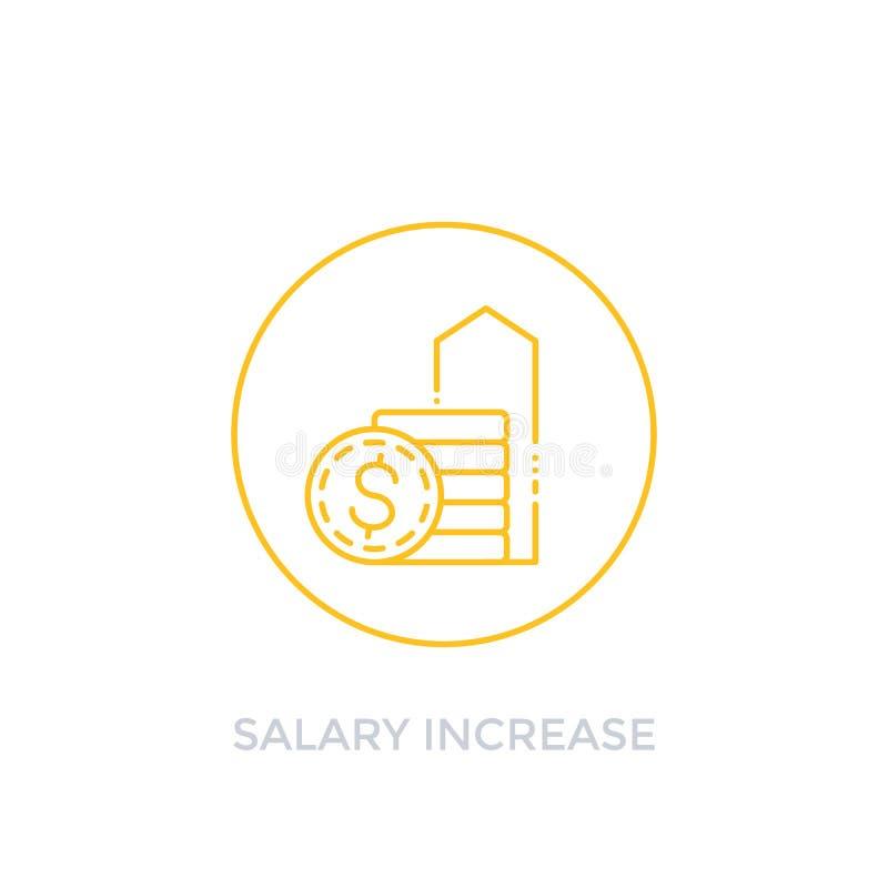 De salarisverhoging, heft vector lineair pictogram op, stock illustratie