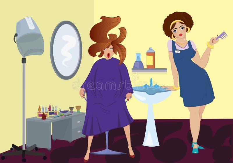 De salonberoeps van de schoonheid en een cliënt royalty-vrije illustratie