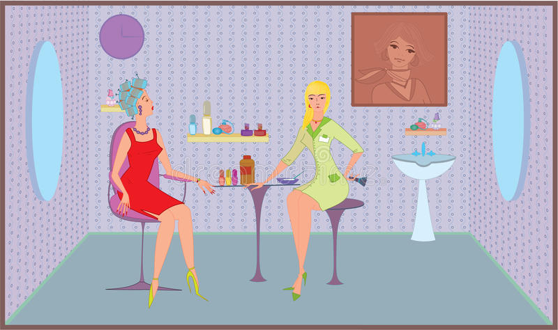 De salonmeisje van de schoonheid met borstel stock illustratie