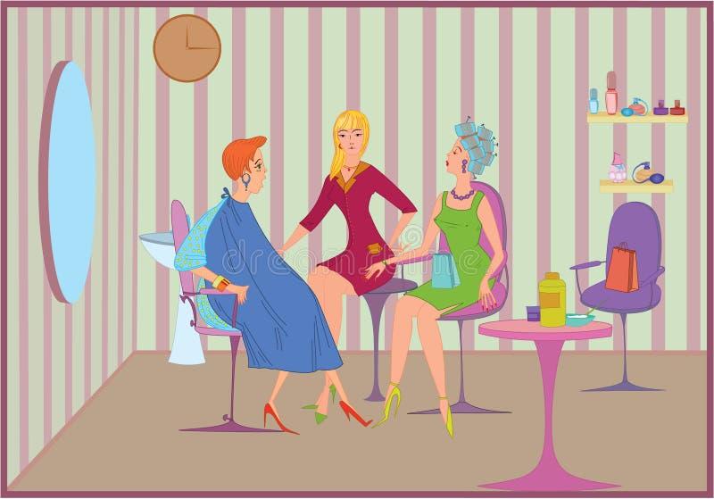 De salonvrienden van de schoonheid het samenkomen stock illustratie