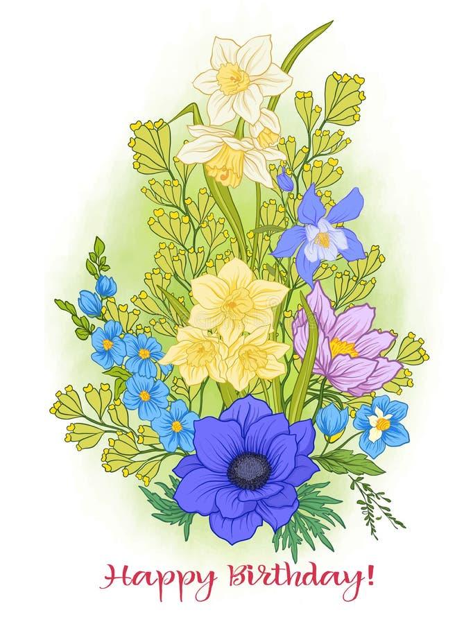 De samenstelling met de zomer bloeit: papaver, gele narcis, anemoon, viole stock illustratie