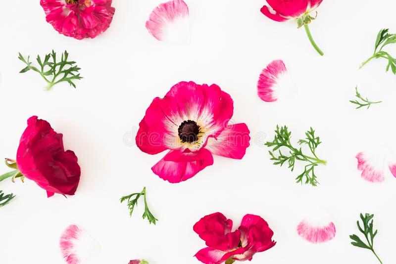De samenstelling met tulpen bloeit, koekjes en kop van koffie op gele achtergrond Vlak leg, hoogste mening stock illustratie