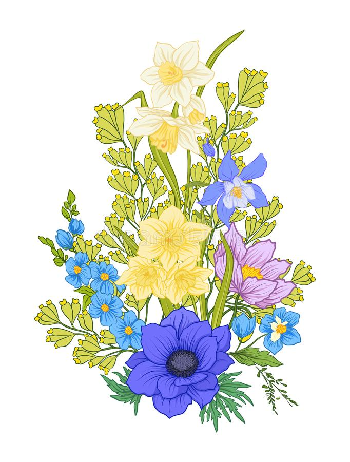De samenstelling met de zomer bloeit: papaver, gele narcis, anemoon stock illustratie