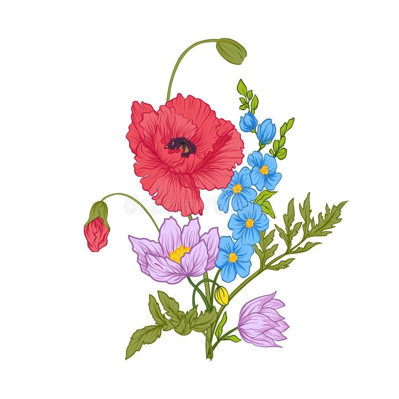 De samenstelling met de zomer bloeit: papaver, gele narcis, anemoon royalty-vrije illustratie