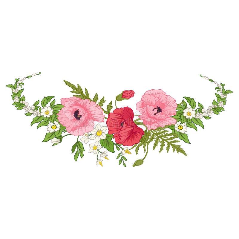 De samenstelling met de zomer bloeit: papaver, gele narcis, anemoon vector illustratie
