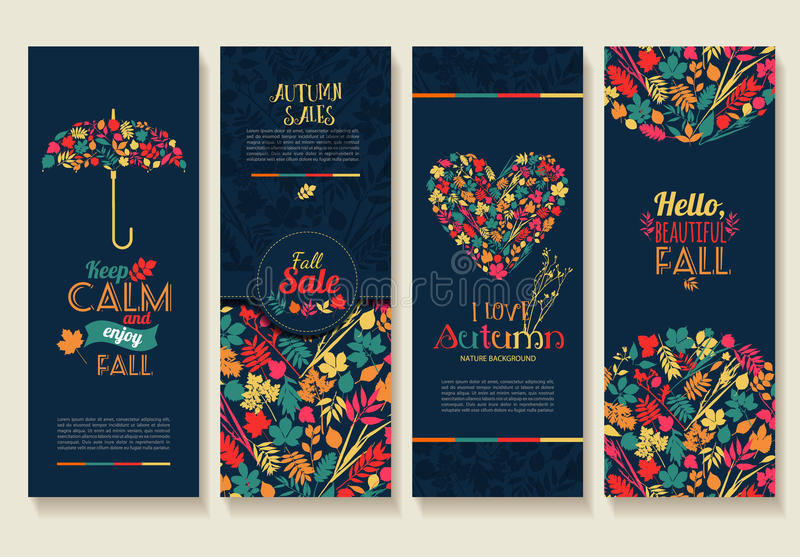 De samenstelling van bladeren Banners van de herfstseizoen stock illustratie