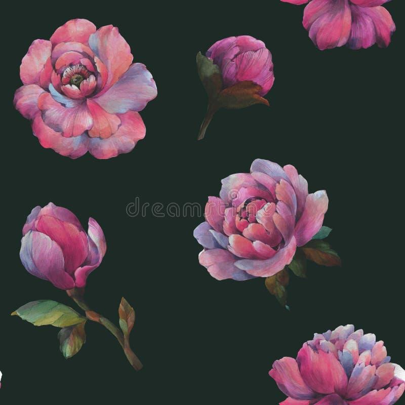 De samenstelling van de bloemen van pioen Naadloos waterverfpatroon van bloemen Botanisch patroon Waterverfpioenen vector illustratie
