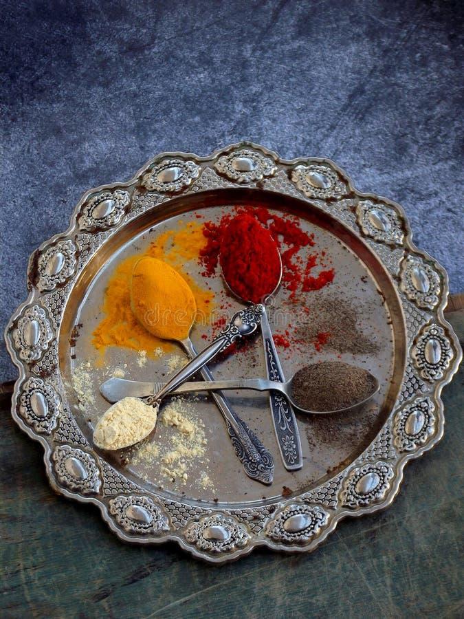 De samenstelling van grondkruiden in een lepel op een metaalschotel Paprika, kurkuma, gember, zwarte peper Hoogste mening stock foto