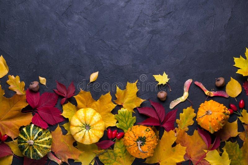 De samenstelling van de herfst De vaas met droog doorbladert, appel en kaarsen bij het ontslaan Kader van verschillende veelkleur stock afbeelding