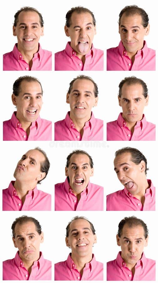 De samenstelling van het gezichtsuitdrukkingen van de mens die op wit wordt geïsoleerd stock foto