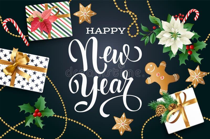 De samenstelling van het Kerstmisontwerp van poinsettia, spartakken, kegels, peperkoek, suikergoedriet, hulst en andere installat vector illustratie
