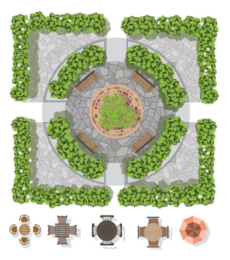 De samenstelling van het landschapsontwerp met het hoogste mening tuinieren royalty-vrije illustratie