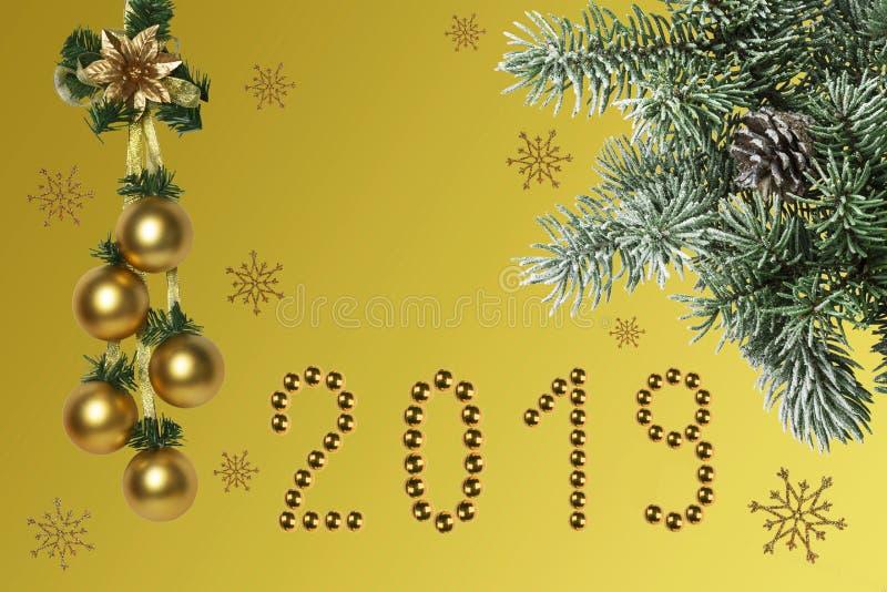 De samenstelling van het nieuwjaar, gelukwensen op de vakantie royalty-vrije stock foto's