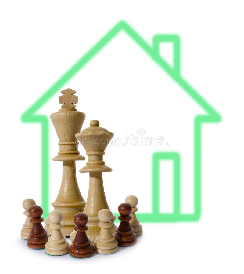 De samenstelling van het schaak met onroerende goederen royalty-vrije stock fotografie