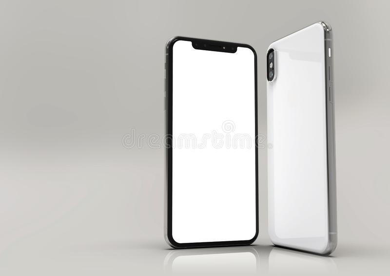 de samenstelling van 2 iPhonexs smartphones, het witte scherm