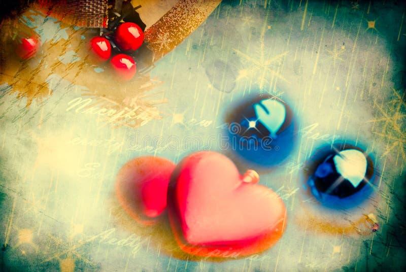 De samenstelling van Kerstmis met rode harten stock fotografie