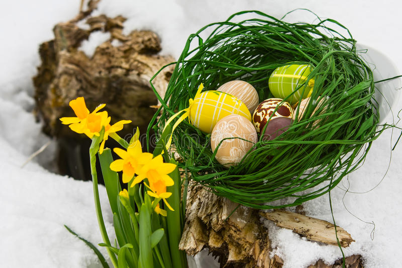 Geschilderde Paaseieren en gele lisbloemen in de sneeuw royalty-vrije stock fotografie