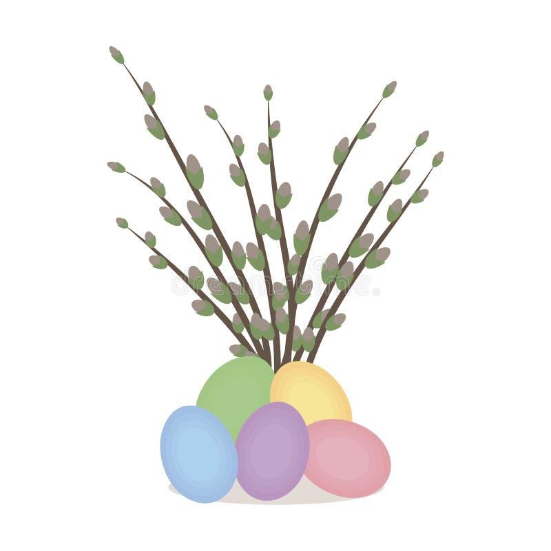 De samenstelling van de lentepasen van een bos van wilgen en kleurrijke die kippeneieren wordt op witte vectortekening worden geï royalty-vrije illustratie