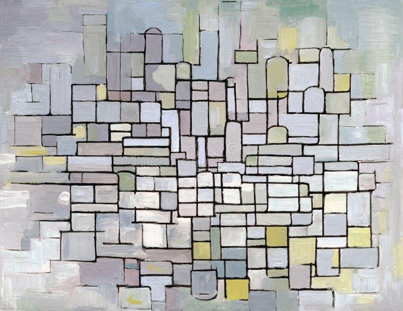 De Samenstelling van Mondrian in grijs, roze en blauw royalty-vrije illustratie
